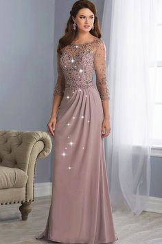 Shimmering tulle & Chiffon Bateau Neckline Full Length Sheath/Column Mother Of The Bride Dresses With Beadings