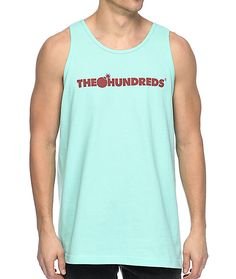 """The Hundreds Bar Logo Celadon tank top. What is Celadon? Why, it is a willow-green color my friend. This tank top features a Celadon body with dark red """"The Hundreds"""" bar logo screen printed at the chest and a bomb silhouette logo near the back collar."""