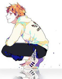 He has the Adidas sweatshirt (*^^*)