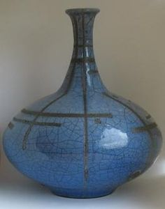 Raku Vase Blue Crackle Glaze