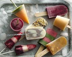 Frozen popsicles and bomb pops. Yogurt, berries, juices.
