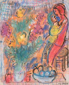 Marc Chagall「Le Couple aux Fleurs」(1950)