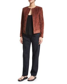 Brushed+Suede+Snap-Front+Jacket,+Ribbed+Racerback+Tank+&+High-Waist+Cropped+Jeans+by+Helmut+Lang+at+Bergdorf+Goodman.