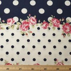 Flowers-And-Polka-Dot-Stripes-Floral-Cotton-Poplin-Fabric