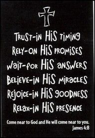"""Trust in his timing, rely on his promises, wait for his answers, believe in his miracles, rejoice in his goodness, relax in his presence."" #quote #advice #blackandwhite #cross #print #bible"