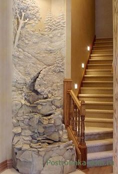 Entryway indoor waterfall by Tom Moberg ~ Moberg Gallery: Artist Portfolios Plaster Art, Plaster Walls, Decoration Shabby, Indoor Waterfall, Wall Sculptures, Wall Murals, Interior And Exterior, Interior Design, Home And Garden