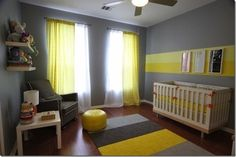 grey & yellow nursery :: just love this color combo. looks so cute in a baby's room. (and nice and gender neutral for our surprise babies. Striped Nursery, Yellow Nursery, Owl Nursery, Baby Yellow, Nursery Neutral, Nursery Room, Boy Room, Kids Bedroom, Nursery Ideas