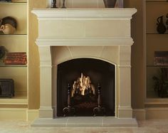 Cast stone fireplace mantels adaptable for prefabricated and masonry fireplaces and fireboxes