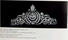 A rarely seen belle epoque tiara, circa 1890. Formerly the property of 5th Countess of Caledon, then sold at auction in 1950s. Featuring a series of diamond scrolls, supporting a large diamond central cluster, sold for £4,800.