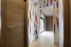 Sotogrande property, Luxury Villa, Girls bedroom hallway. Colourful wall effect- Canopee Wallpaper Panoramic Panel Rain Forest