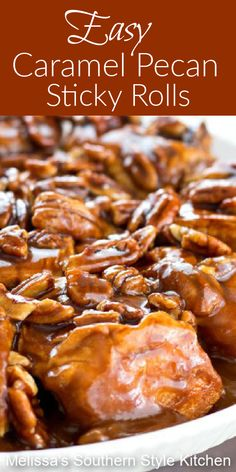 No bread making is required to make these irresistible caramel pecan sticky rolls #stickyrolls #caramel #caramelpecan #pecans #sweetrolls #caramelrolls #sweet #desserts #dessertfoodrecipes #southernfood #southernrecipes #bread #rolls #brunch #breakfast Layered Desserts, Mini Desserts, Sweet Desserts, Just Desserts, Delicious Desserts, Mug Recipes, Best Dessert Recipes, Brunch Recipes, Cookie Recipes