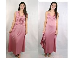 Vintage 70s pink long dress 70s gown 70s formal by vintagerunway, $49.00