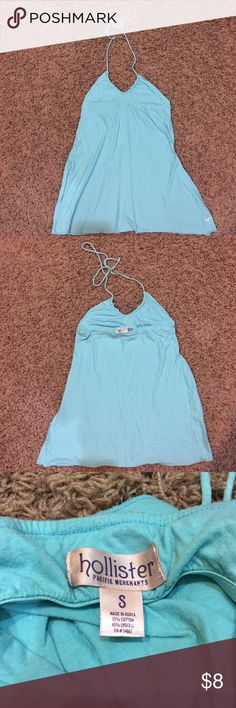 Hollister Halter Top Light blue halter top with built in bra. Missing a bead on one of the tie strings. Hollister Tops Tank Tops