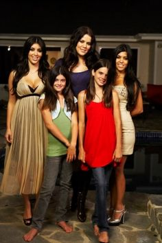 Kourtney and Kim Kardashian with little sisters Kendall and Kylie ...