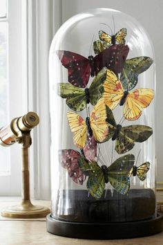 Butterfly Cloches- I can do this with the cd I have to print butterflies off my computer