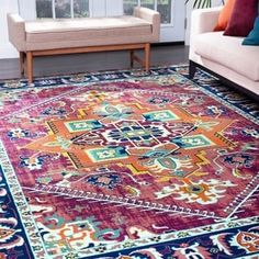Alise Rugs Genesis Transitional Oriental Area Rug x - Purple) 8x10 Area Rugs, Blue Area Rugs, Living Room Orange, Transitional Area Rugs, Rectangle Area, Polypropylene Rugs, Online Home Decor Stores, Traditional Design, Outdoor Rugs