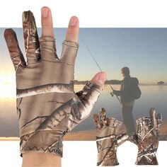 Men Waterproof Camouflage Fishing Gloves Hunting Anti-Slip Shooting Camo Tactical Outdoor Mittens