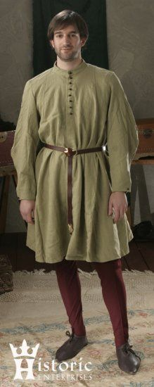 I have already purchased a couple of long tunic linen shirts which could be belted like this and worn over leggings.  By the way, we have some leggings already from doing Shakespeare in Hollywood.