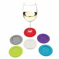 Amazon.com: NEW! Two-in-One Grab & Go Slip-On Coasters and Wine Charms Set of 6. Wine Glass Markers, Glass ID Coasters. Unique Wine Lovers Gift Idea! Great Wine Glass Decoration!: Home & Kitchen