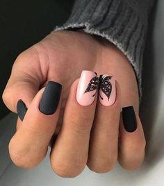 Nail Designs for Spring Winter Summer Fall. Butterfly Nail Art. Black Matte Nail Art. Pink Nail Art.