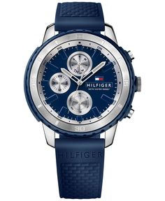 Tommy Hilfiger Men's Flynn Blue Silicone Strap Watch 47mm 1791193