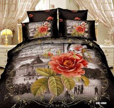 new arrival beautiful orange flower 7 pcs bedding sets print bedspreads duvet cover set bed sheet queen king super king size