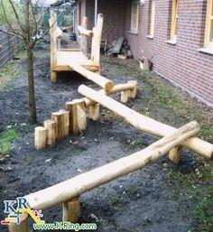 Toll für Kinder: Balancierstrecke im #Vorgarten #diy