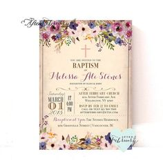 Floral Baptism Invitation Girl Floral Christening Invitation, Naming Day , Holy Communion, Dedic Baptism Invitations Girl, Baptism Favors, Party Invitations, Baptism Ideas, 1 Birthday, First Birthday Parties, First Birthdays, Watercolor Invitations, Floral Watercolor