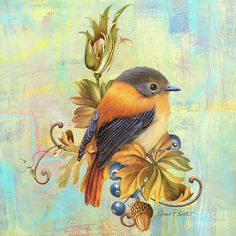 Glorious Birds On Aqua-a2 Painting  - Glorious Birds On Aqua-a2 Fine Art Print