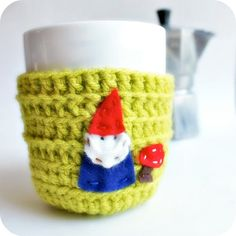 Gnome Funny Coffee Mug Tea Cup Cozy Chartreuse lime green spring crochet handmade cozy cover Crochet Coffee Cozy, Coffee Cup Cozy, Mug Cozy, Coffee Cups, Yarn Crafts, Sewing Crafts, Cozy Cover, Funny Coffee Mugs, Crochet Home