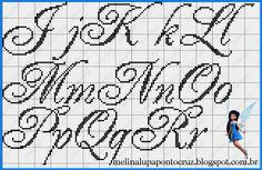 Alfabeto Ponto Cruz filet crochet cursive alphabet