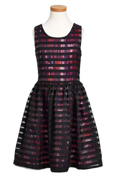 Nicole Miller Stripe Overlay Sleeveless Dress (Big Girls) available at #Nordstrom