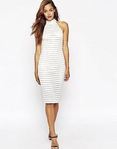 WHITE HAUTE ASOS NEW WHITE SHEER STRIPE HIGH HALTER NECK MIDI DRESS 4 NWT