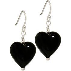 black Murano Glass earrings black heart earrings sterling silver... ($29) ❤ liked on Polyvore featuring jewelry, earrings, heart jewellery, french hook earrings, heart earrings, heart jewelry and sterling silver jewellery
