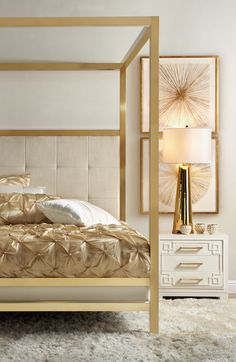 Introducing our NEW Enzo Bed. Transform your bedroom into a glamorous oasis with this exquisite piece. Also available in silver.