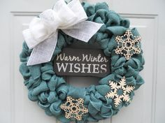 Rustic Holiday Blue Burlap Warm Winter Wishes by ChloesCraftCloset
