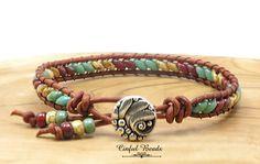 Southwest Beaded Leather Wrap Bracelet - Skinny Picasso Superduo Leather Bracelet - Turquoise Picasso Leather Bracelet (SK14) by CinfulBeadCreations on Etsy