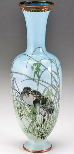 ~ Japanese cloisonne vase - attributed to Namikawa Sosuke, seal mark of seitei, late 19th century ;   elongated baluster form, depicting crows amongst grain
