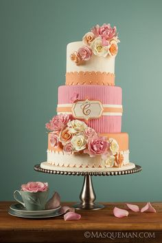 Pink and Orange adorn this white cake to create a beautiful finish touch Coral Wedding Cakes, Wedding Cake Designs, Orange Wedding, Coral Cake, Gorgeous Cakes, Pretty Cakes, Amazing Cakes, Cupcakes, Cupcake Cakes