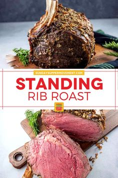 Our Standing Rib Roast recipe proves that it's easy to make a perfectly cooked, beautiful roast using only simple ingredients! #SundaySupper #ribroast #standingroast #beef #beefroast Easy Roast Beef Recipe, Roast Recipes, Standing Rib Roast, Best Beef Recipes, Roast Beef Sandwiches, Beef Burgers, How To Grill Steak, Beef Dishes, Easy Meals