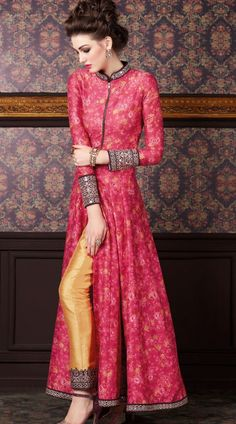 Gorgeous Pink Designer Floral Print Front Zip Kameez With Golden Parallel Pant 2YS471198 Marvellous pink premium fabric floor length anarkali suit which is beautifully made with floral digital print, zip and mirror work. This attire comes with matching bottom and dupatta. This outfit can be stitched in the maximum bust size of 42 inches.