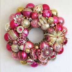 Pink, Gold, Silver Vintage Christmas Ornament Wreath ($225) ❤ liked on Polyvore featuring home, home decor, holiday decorations, angel ornaments, gold christmas ornaments, glass ball ornaments, pink ornaments and vintage santa ornaments