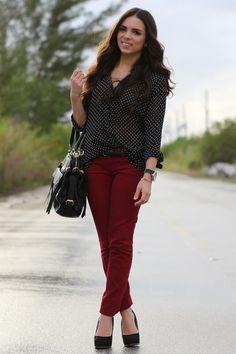 burgundy pants & dotted black shirt ♥