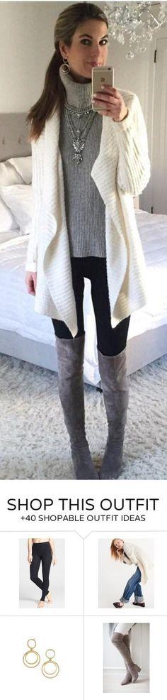 #winter #fashion / White Wool Cardigan / Grey Turtleneck / Black Skinny Jeans / Grey OTK Boots