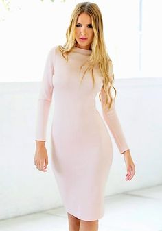Front view of girl in light pink bodycon midi dress