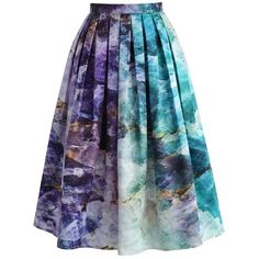 Chicwish Quartz Crystal Heart Printed Midi Skirt (265 HRK) ❤ liked on Polyvore featuring skirts, purple, purple skirt, purple midi skirt, heart skirt, calf length skirts and blue skirt