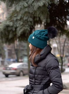 Green knit hat Dark green knit beanie Fur pompom hat by ShopLaLune