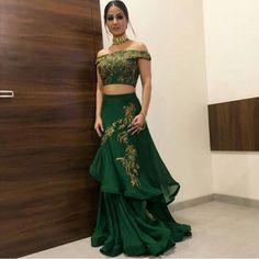 Green Georgette and Silk Off Shoulder Gown for Wedding Western Dresses, Indian Dresses, Indian Outfits, Lengha Blouse Designs, Choli Designs, Girls Fashion Clothes, Fashion Dresses, Navratri Dress, Indian Wedding Gowns
