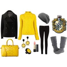 hufflepuff inspired fashion. Love it but I don't think I would have been a hufflepuff if I went to hogwarts probably ravenclaw