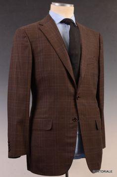 KITON Diplomat Brown Super 180's Blanc Blu 14 Micron Suit EU 50 NEW US 38 40